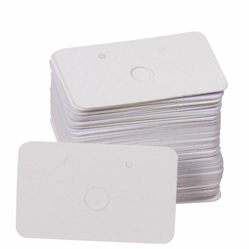 "300-Pack Hanging Earring Card Holder Earring Display Ear Studs White 1.6"" x 1"""