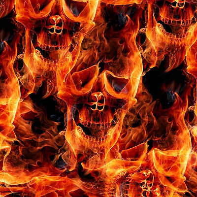 Hydrographic Water Transfer Hydrodipping Film Hydro Dip Flaming Fire Skulls 1sq