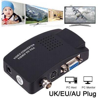Bnc Vga (CCTV Kamera BNC S Video VGA zu Laptop VGA PC Monitor Konverter Adapter EU Plug)