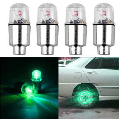 4Pc Universal Green LED Autos Wheel Tyre Tire Air Valve Stem Cap LED Light Lamp