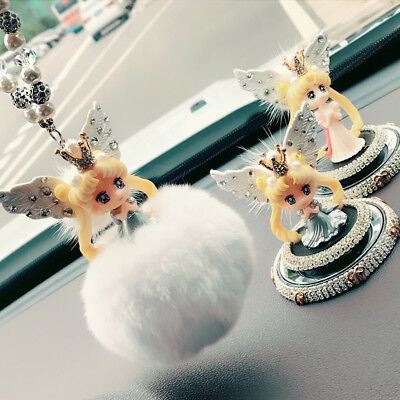 Sailor Moon Car Rearview Mirror Accessories Ornaments Angel Wings Pendant Decor