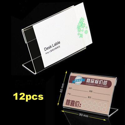 12x Acrylic Sign Holder Slant Back Design Clear Sign Display Holder Stand Racks Clear Acrylic Sign Holder