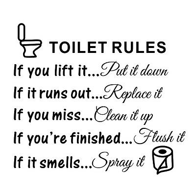 Toilet Rules Bathroom Removable Wall Sticker Vinyl Art Decals DIY Home Q9F7 H0F6