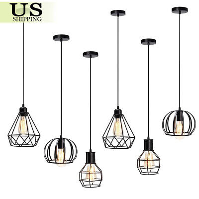Industrial Vintage Iron Cage Hanging Ceiling Pendant Light Holder Lamp Shade New ()