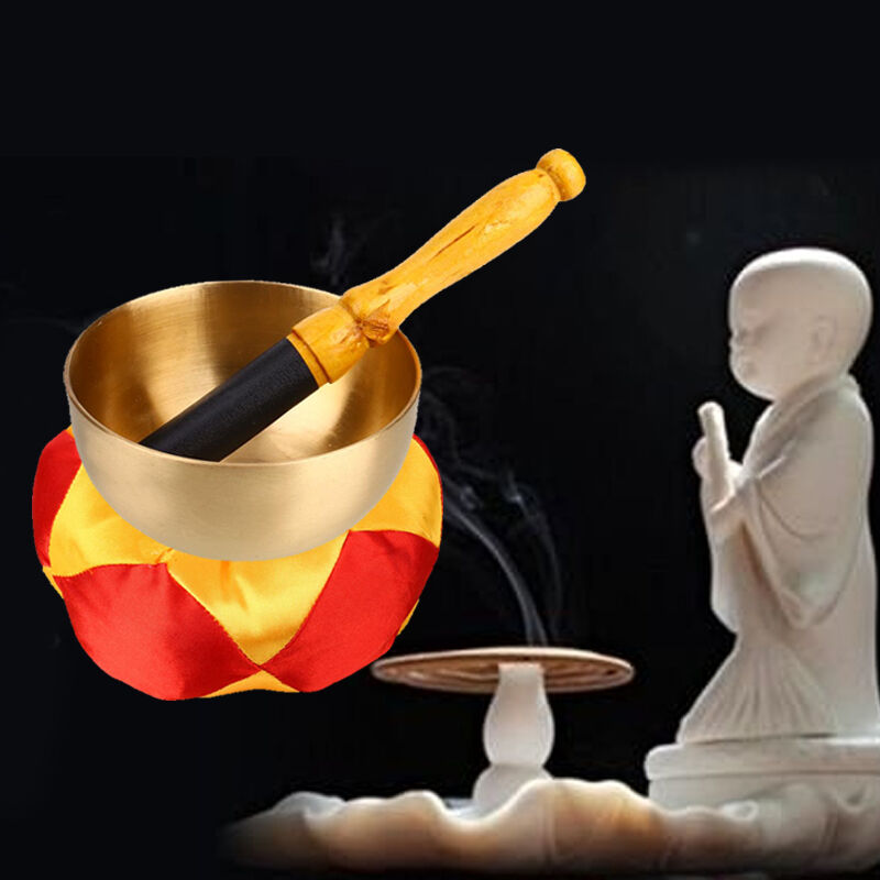 Tibetan Bell Metal Buddhism Singing Bowl Meditation Relaxation With Cushion