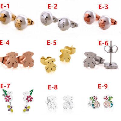 Teddy Bear Stud Earrings 14K Gold Pierced Bear Earrings for Women Jewels