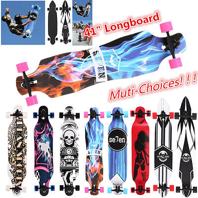 "41"" Drop-Through Longboard Skateboard Complete for Free Downhill Cruising 3 Type"