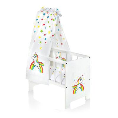 Sun Puppenbett mit Himmel Einhorn & Sterne Holz Bett Himmelbett Puppe Regenbogen