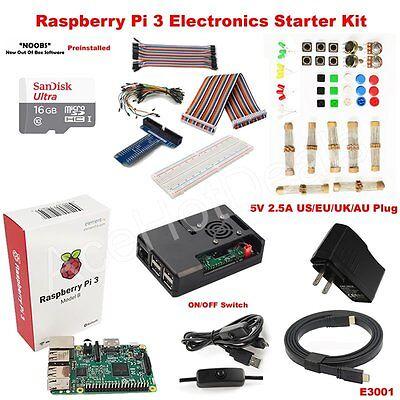 Raspberry Pi 3 Model B Heatsink Case Fan GPIO Electronics Starter Kit E3001](raspberry pi electronics starter kit)