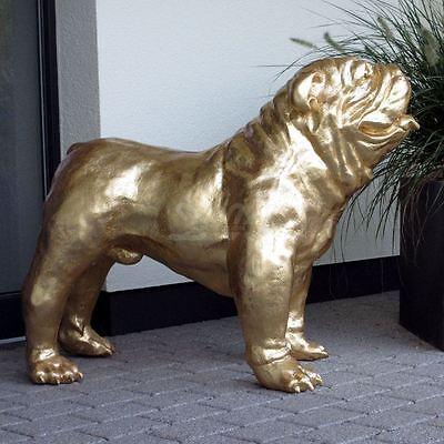englische BULLDOGGE 93 cm BLATTGOLD Garten Deko Figur HUND Tier Skulptur Hunde