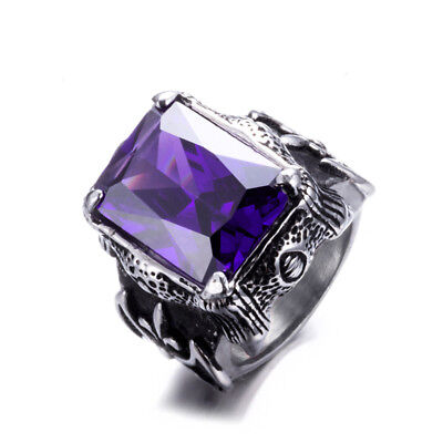 Men Vintage Stainless Steel Cushion Cut  Amethyst Ring Jewelry Gift Size 8-13