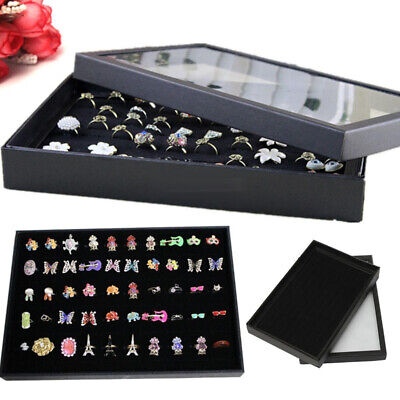 Retail 100 Slots Ring Jewelry Display Tray Case Storage Box Showcase Holder Qwe