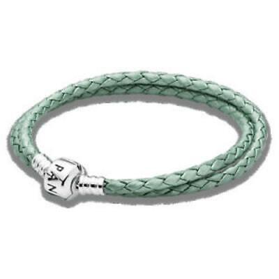 Bracelet PANDORA 590705CSG-D3 Leather And Silver Green Water New