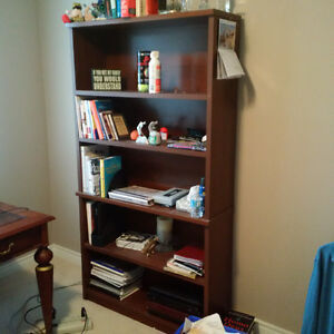 Wooden Desk, file cabinet and bookcase
