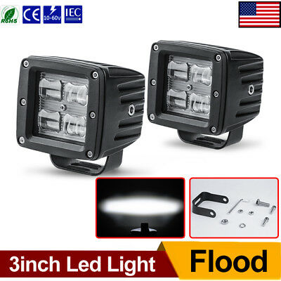 2x 3inch 40W Flood Led Light Bar Cube Backup Driving Pods Offroad 4X4 Truck Boat