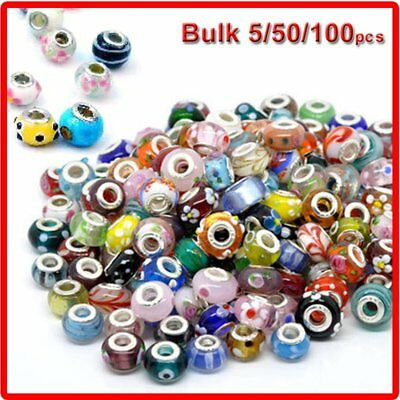 Charms For Bracelets Wholesale (2018 Wholesale 50Pcs Lots Bulk Murano Glass Charm Beads Spacer For Bracelet)