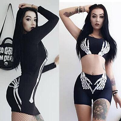 Gothic Style Halloween (Gothic Halloween Women Casual Style Skeleton Printed dress Sport Blouse Tee)