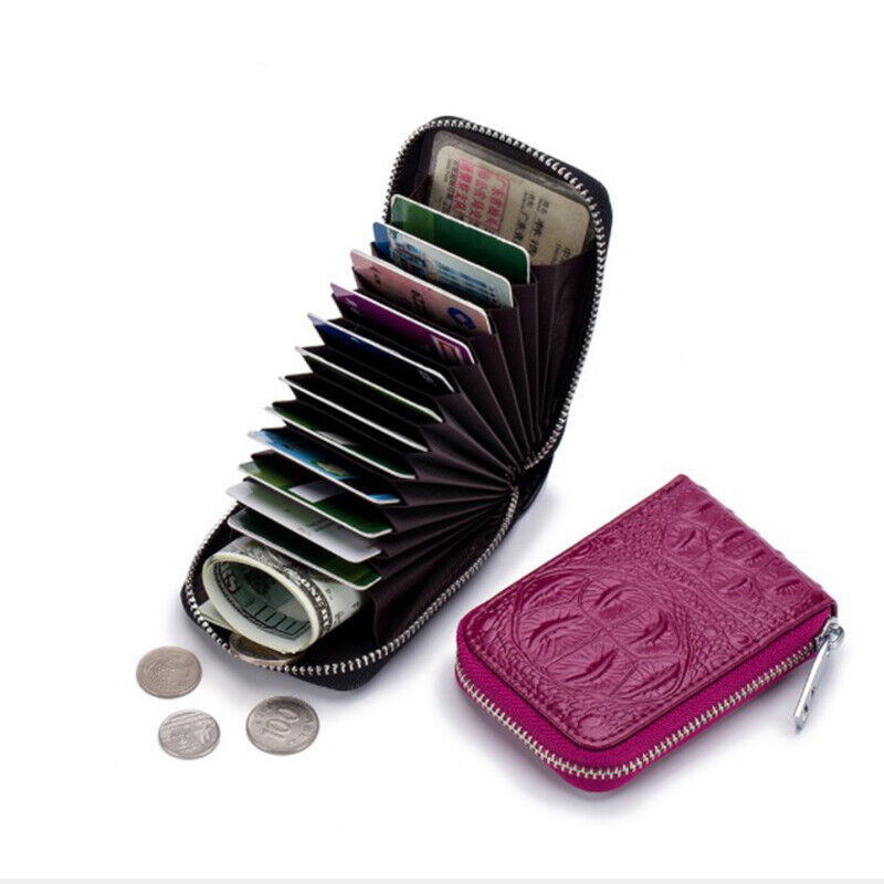 RFID Blocking Credit Card Holder Genuine Leather Wallets for Men Women Case US Clothing, Shoes & Accessories