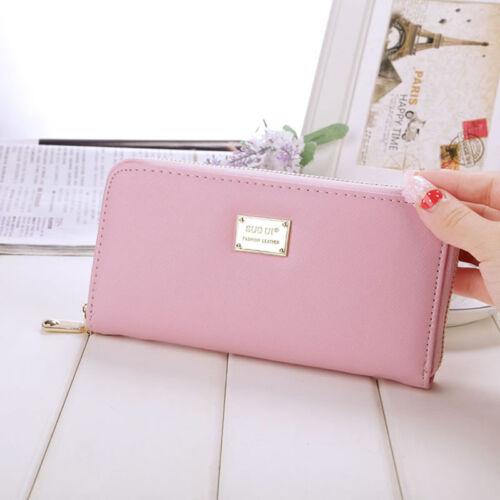 Women Ladies Zipper Leather Long Purse Clutch Coin Bag Wallet Card Holder FastUS