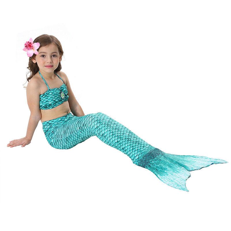 Kinder Meerjungfrau Kostüm Mädchen Bademode Badeanzug Cosplay Sommer Bikini Set Dunkelgrün
