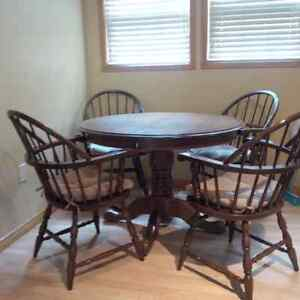 Solid Oak PedestalTable and Captain Chairs