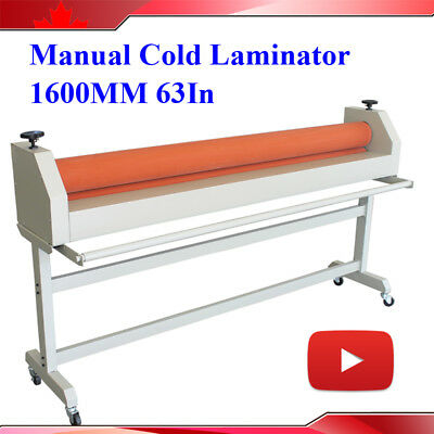 Manual Cold Laminating Machine 63in Durable Soft Robber Roller Us Shipping