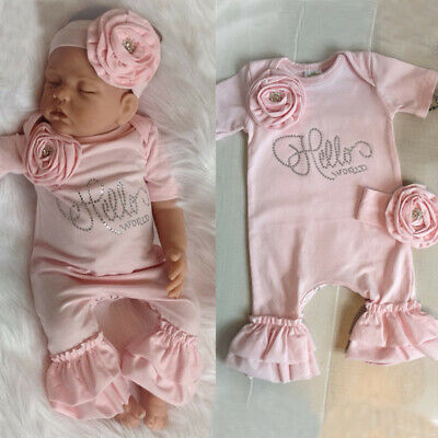 Newborn Baby Girls Flower Romper Ruffle Jumpsuit + Headband Outfits Clothes Set