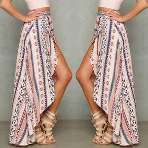 Summer Sexy Women's Boho Long Maxi Skirt Bikini Cover Up Beach Dress Sundress
