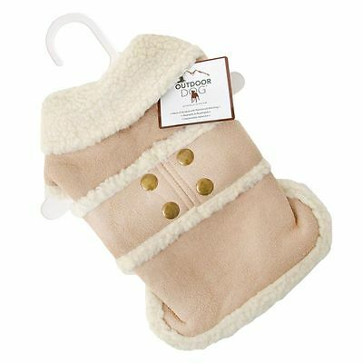 Outdoor Dog SHEARLING COAT Warm Faux Suede Sherpa Lining Hook & Loop Closures