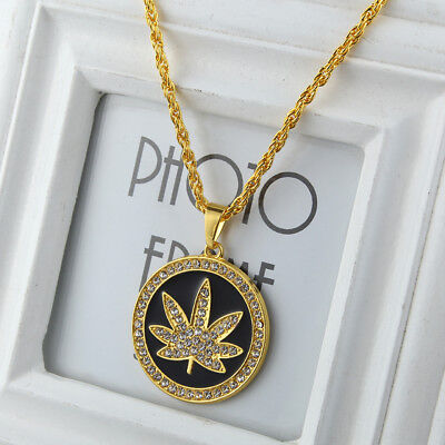 Men's Hip Hop Gold Plated Ice Out Round Maple Leaf Pendant 28