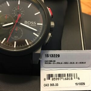Beautiful Hugo Boss Chronograph Black Dial Black Mens Watch