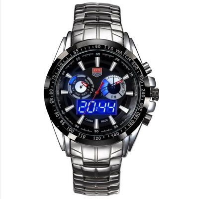 Brand Tvg Men Fashion Sports Stainless Steel Dual Display Quartz Watch