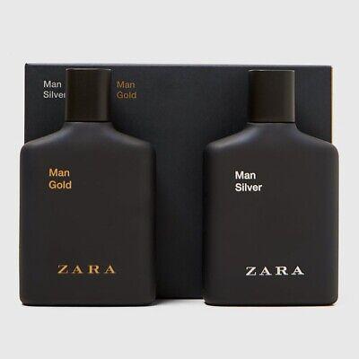 ZARA MAN SILVER + GOLD Eau de Toilette 2 x 3.4 oz (100ml) EDT Spray NEW & SEALED