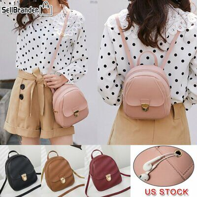 Women Girls Mini Backpack Purse Leather Handbag Small Rucksack Shoulder Bags US Leather Mini Backpack Handbag