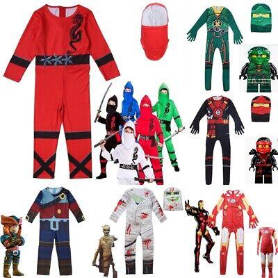 UK Kids Boys Ninja Cosplay Costume Ninjago Fancy Halloween Party Jumpsuit - Boys Ninja Outfit