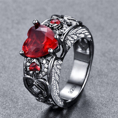 Creative Angel Wings Love Heart Red Ruby Engagement Princess Ring Jewelry Gift