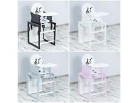 3 in 1 Baby Solid Wooden High Chair with Play Table