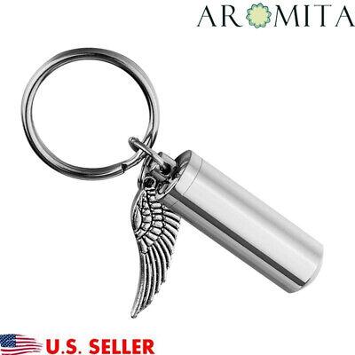 Angel Wing Cylinder Cremation Jewelry Keychain Keepsake Memorial Ash Urn Holder
