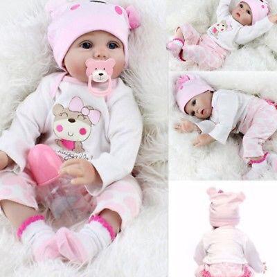 22'' Lifelike Newborn Baby Girl Handmade Vivid Silicone Vinyl Reborn Baby Doll