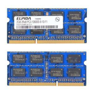 Two 2GB ELPIDA DDR3 SO-DIMM 2GB Memory Ram PC3-10600S-9-10-F1