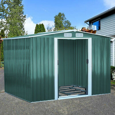 Garden Extra High Gable Steel Storage Shed Tool House with Door&Foundation 8x8ft