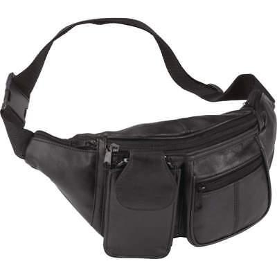 Embassy Solid Genuine Lambskin Leather 6-Pocket Waist Bag