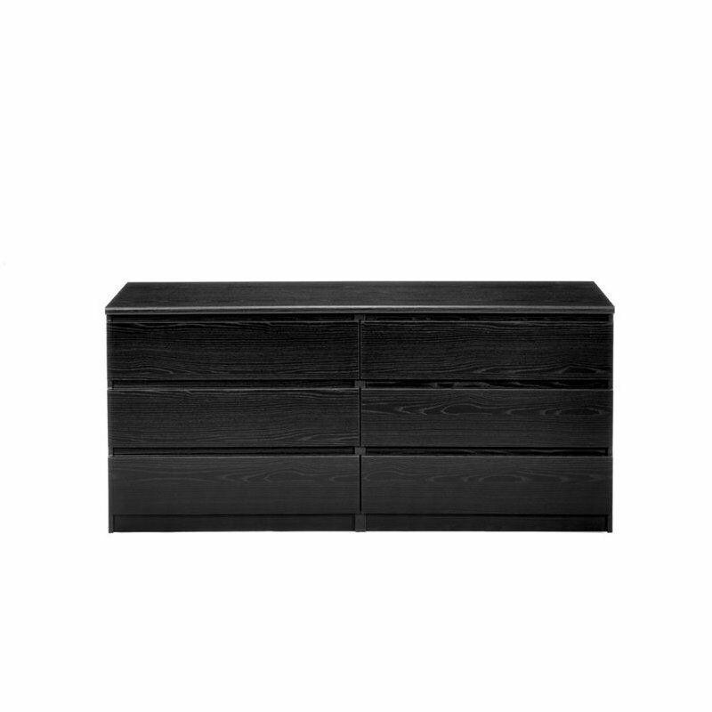 Pemberly Row 6 Drawer Double Dresser in Black Woodgrain