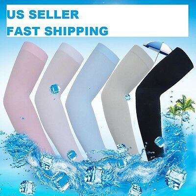 1 Pair Cooling Arm Sleeves Stretch Cover UV Sun Protection Outdoor Sports Unisex