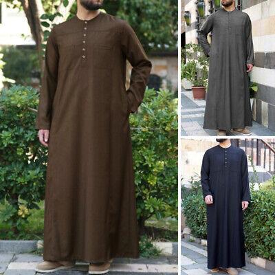 Men Saudi Style Thobe Thoub Long Sleeve Abaya Robe Dishdasha Islamic Arab Kaftan