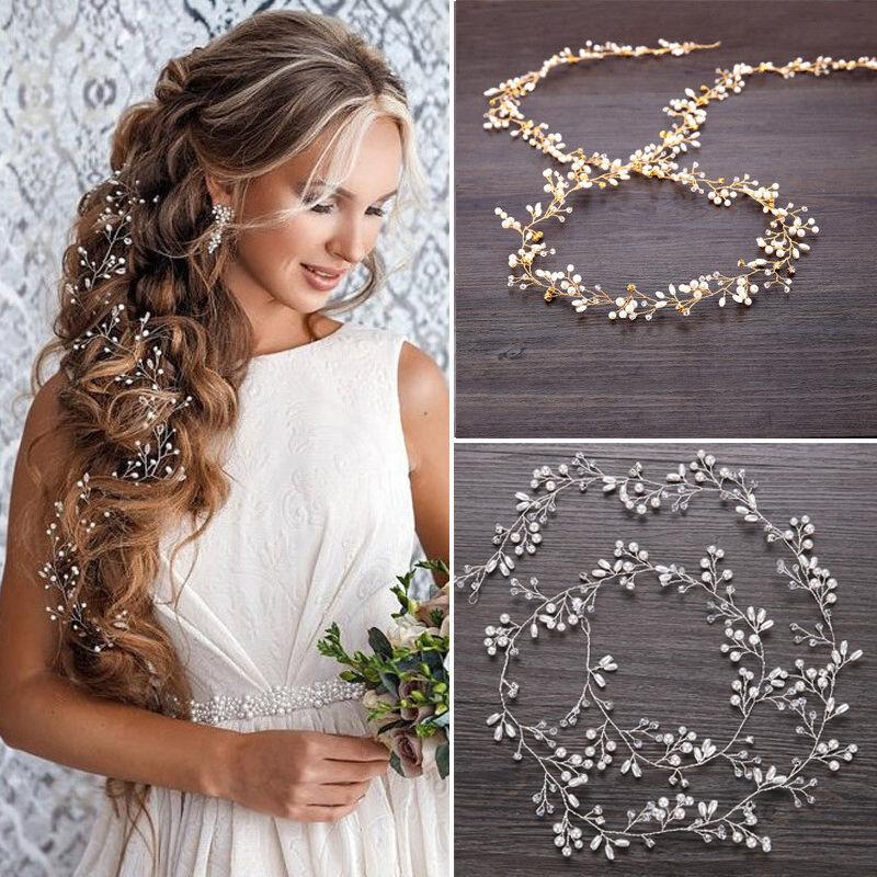 "59"" Long Wedding Hair Vine Crystal Pearl Headband Bridal Acc"