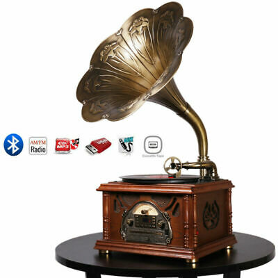 Bluetooth Phonograph Record Music Player Version Gramophone CD FM Radio Aux-In