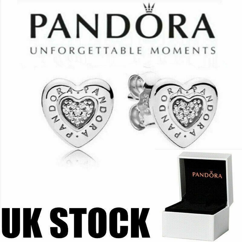 Jewellery - Women's Pandora 925 Silver Heart-shaped Stud Earrings Birthday Gift Jewelry UK