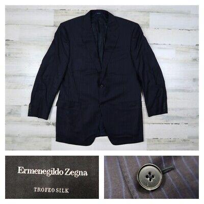 Ermenegildo Zegna Trofeo Silk Mens 44R Navy Striped Sport Coat Blazer Jacket