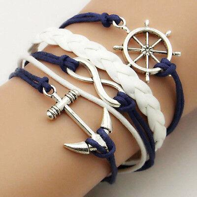 Alloy Anchor Rudder Faux Leder Freundschaft Liebe Paar Charm Bracelet